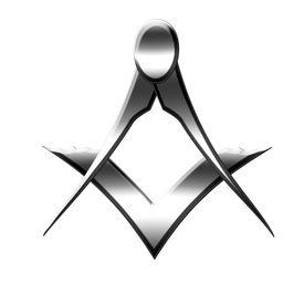 image of freemasons  - silver freemason symbol on a white background - JPG