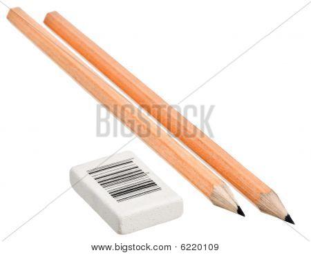 Bleistift und Radiergummi
