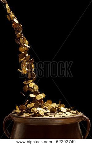 Gold Coins Falling In The Vintage Pot