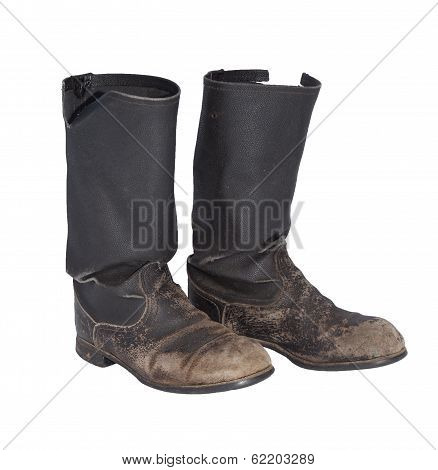 Old Tarpaulin Military Boots