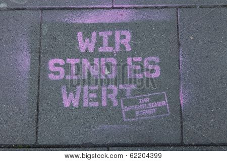 Graffiti On The Bottom About The Strike In Cologne, Germany