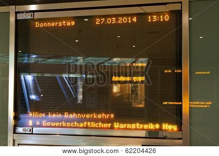 Information Table At A Station About The Strike In Cologne, Germany