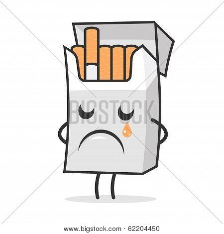 Cigarette pack weeps and sad