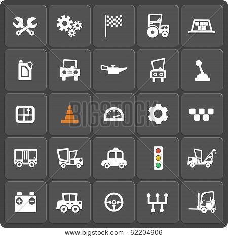 Set of 25 cars vector web and mobile icons