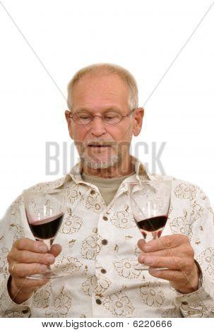 Senior Man Enjoying Wine