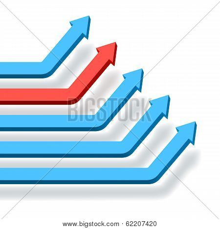 Intersecting blue numbered graph arrows
