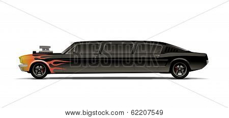 Supercharged Muscle Car Limo With Flames