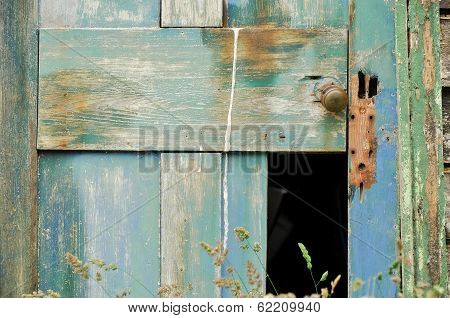 Weathered Broken Down Wooden Door