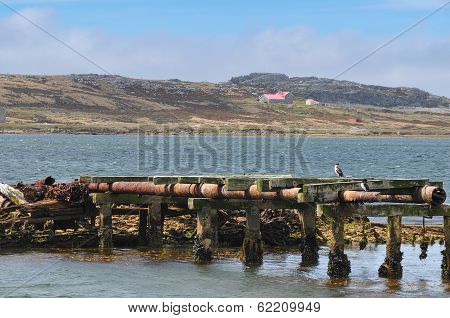 Port Stanley Harbor Falkland Islands Mountains Background