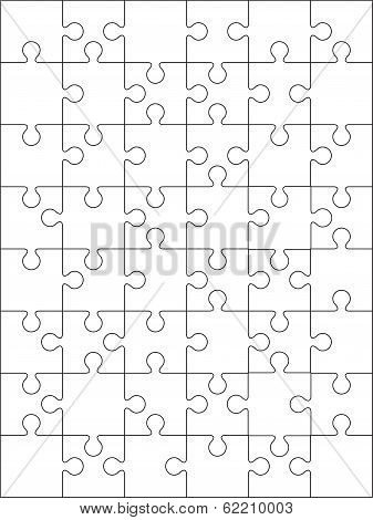 48 Jigsaw puzzle blank template or cutting guidelines. on 6*8 vertical dimension.