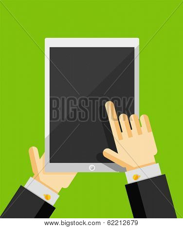 Business man using tablet. Responsive flat ui design. Can be used for web design, printed materials, presentations