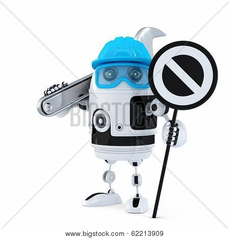 Robot Construction Worker With Wrench And Stop Sign
