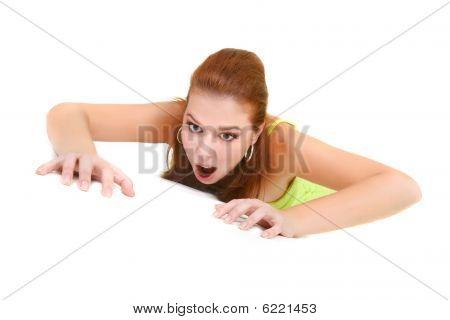 Attractive Woman Crawling Over White