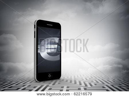 Euro sign on smartphone screen against maze ending in cloudy sky