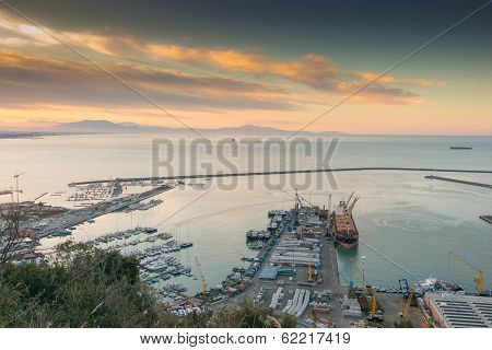 Busy Harbor and cargo ship