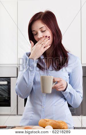 Sleepy Woman Drinking Coffee