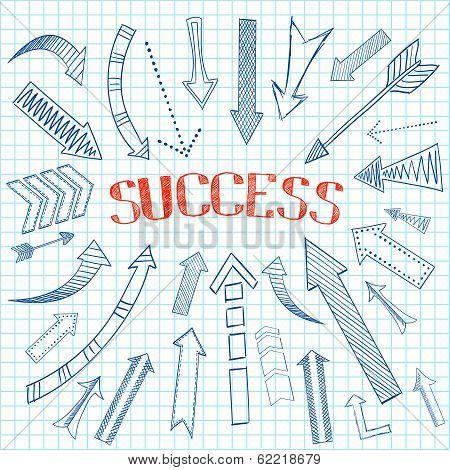 Success arrows icon sketch