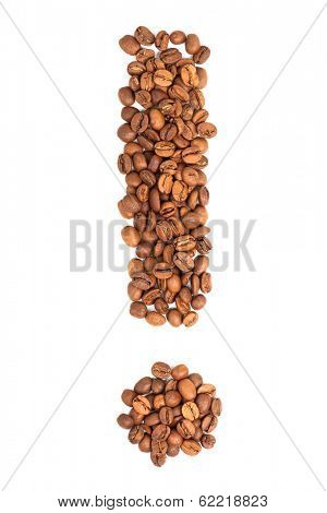 Exclamation mark from coffee beans isolated on white background