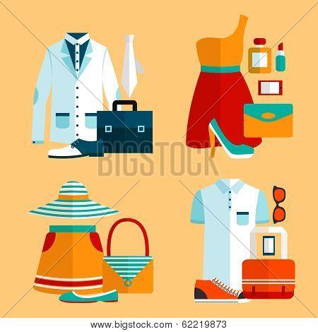 Shopping Clothing Icons Set