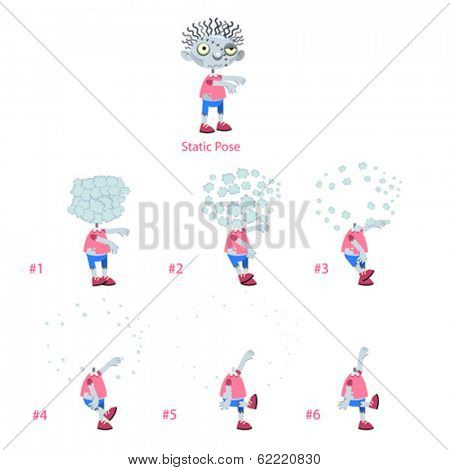 Animation of Zombie with explosion of head. Six frames and 1 static pose. Vector cartoon isolated frames.