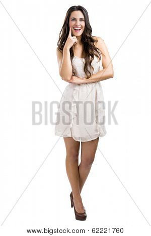 Beautiful woman smilling, isolated over a white background
