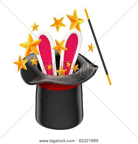 Rabbit In A Magician Hat. Isolated