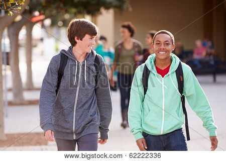 Two Male Students Walking To High School