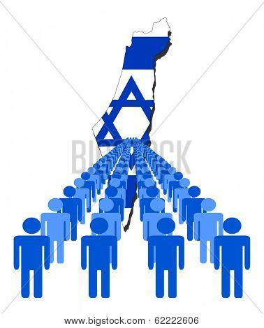 Lines of people with Israel map flag vector illustration