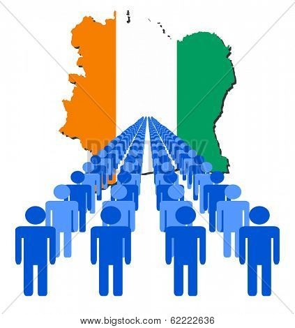 Lines of people with Ivory Coast map flag vector illustration