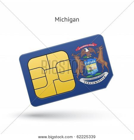 State of Michigan phone sim card with flag.