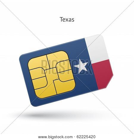 State of Texas phone sim card with flag.