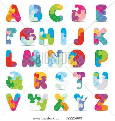 Alphabet written with puzzle - vector illustration