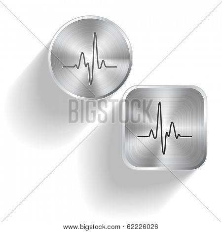 Cardiogram. Vector set steel buttons