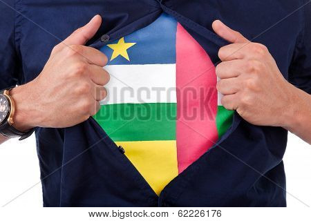 Young Sport Fan Opening His Shirt And Showing The Flag His Country Central Africa, Central African F