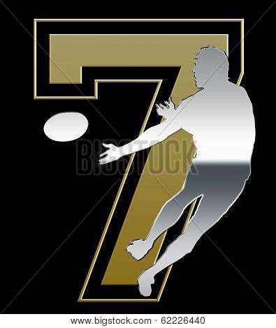 Silver And Golden Sevens Rugby Emblem On Black