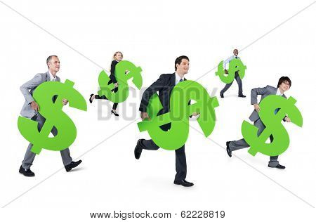 Mullti-ethnic Group of Business People Running With Dollar Signs