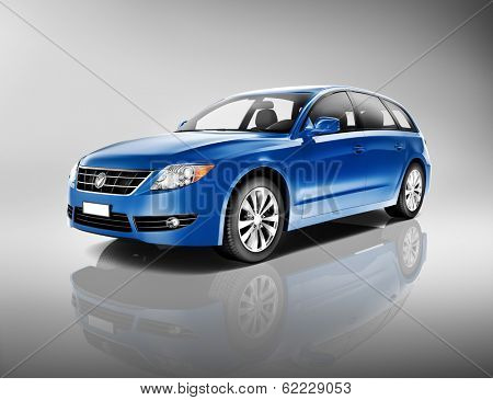 3D Generic Blue Family Car