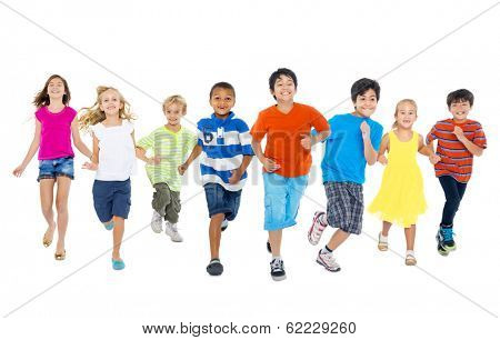 Happy Diverse Multi-ethnic Children Running