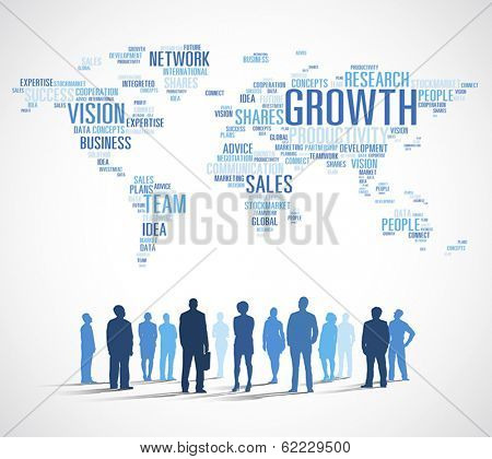 Vector of Business Growth with World Map