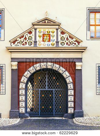 WEIMAR, GERMANY - APR 7, 2013: decorated facade and gate of the anna amalia library