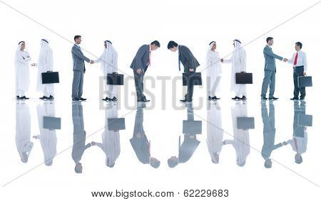 Group of Business People Meeting and Greeting