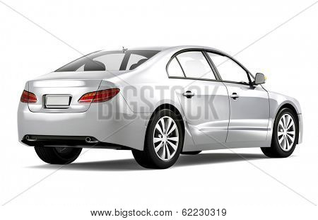 3D Silver Car Rear View