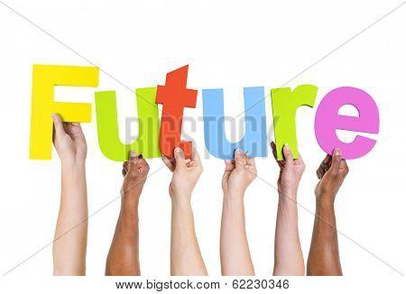 Diverse Multi-ethnic Hands Holding Future