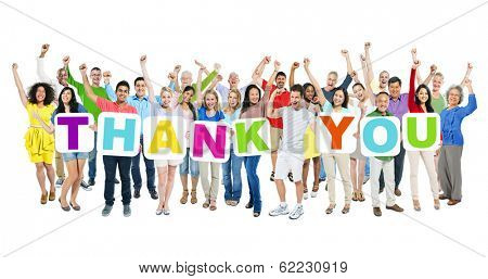 Multi-ethnic Group of World People Holding Boards with Thank You