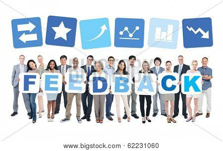 Multi-ethnic Group of Diverse People Holding Feedback