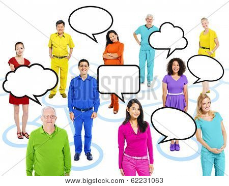 Group of Multi-ethnic Colorful World People Connected with Speech Bubbles