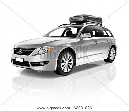 Three Dimensional Image of a Silver Family Sedan Car