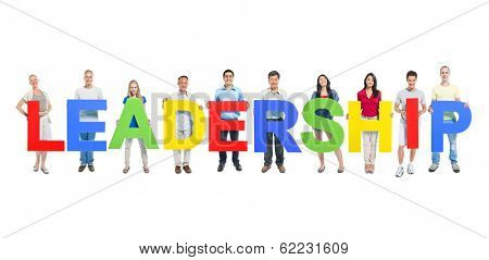 Group of People Holding The Word Leadership