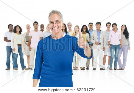 Senior Man Giving Thumbs Up with Diverse Crowd