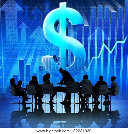 Business People Meeting with Economic Recovery and Dollar Sign